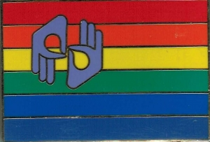 BeLEGIT logo pin - horizontal stripes with rainbow coloring, with interpreter sign in upper left corner