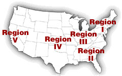 Map of United states, showing all five regions