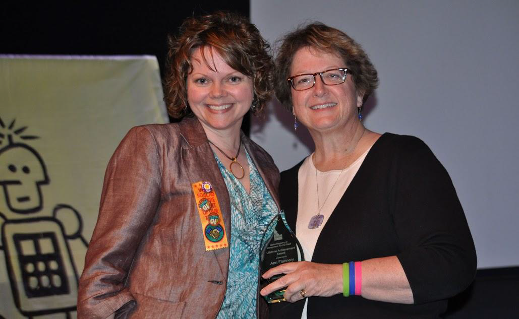 IdahoRID President Holly Thomas-Mowery with Lifetime Achievement Award Recipient Ann Flannery