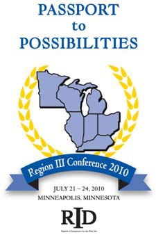 "Logo for 2010 Region III Conference ""Passport to Possibilities"", July 21-24 2010, Minneapolis, Minnesota"