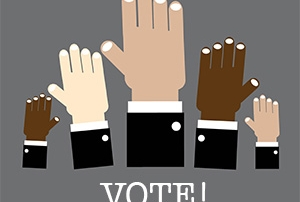 "Graphic with hands up, text says ""Vote!"""