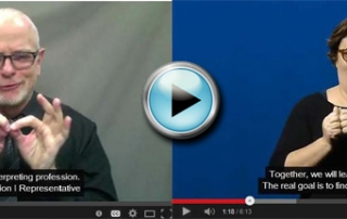 Screen shot of Lewis Merkin, CDI and CM Hall, chairs of transition team, doing their videos. (Two screenshots joined into one picture.).
