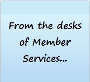 """blue sticky """"From the desks of member services"""""""