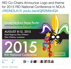 RID Co-Chairs Announce Logo and theme for 2015 RID National Conference in NOLA #RIDNOLA15 http://t.co/GDyM8EwSb1 http://t.co/Vrl1spoSlY