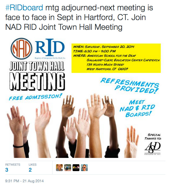 #RIDboard mtg adjourned-next meeting is face to face in Sept in Hartford, CT. Join NAD RID Joint Town Hall Meeting http://t.co/5jp6p7hlwE