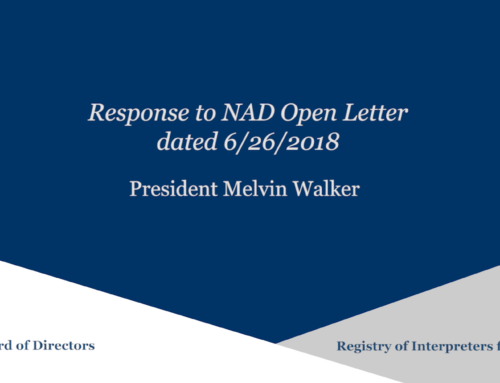 RID Response to the NAD Open Letter (dated 6/29/2018)