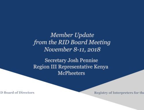 Member Update from the Face-to-Face Board Meeting, Nov 8-11, 2018