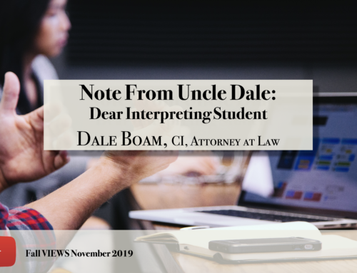 Note From Uncle Dale VIEWS Fall 2019