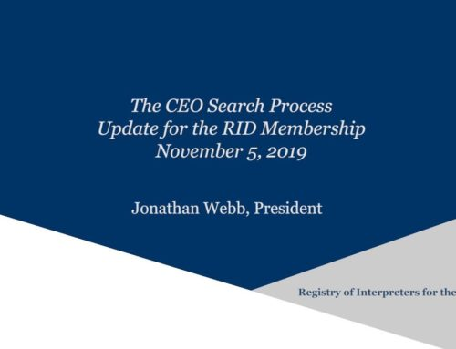Message regarding the CEO Search – All Members